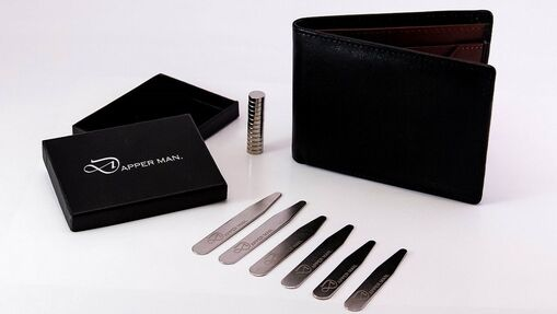 RFID Wallet and Magnetic collar stays gift set by Dapper Man